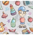 Seamless texture of childrens toys for the boy vector image