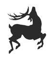 simple black silhouette of jumping deer on the vector image