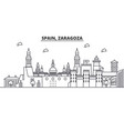 spain zaragoza architecture line skyline vector image
