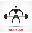 Workout logo with triangle man vector image