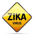 zika virus warning sign with reflect and shadow vector image