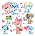 Set of Cute Cartoon Dogs vector image