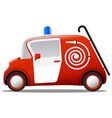 mini cartoon red fire truck firefighter vector image