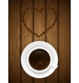Coffe cup on wooden background vector image vector image
