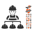 builder management icon with valentine bonus vector image