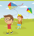 kids playing with kites outdoor in summer vector image