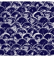 Navy blue and white grunge scallop geometric vector image