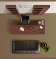 Office Work Room Top View Realistic vector image