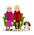 older couple on the sofa sitting elderly woman vector image