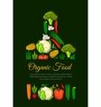 Organic vegetables food emblem vector image