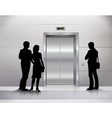 Silhouettes Waiting For Elevator vector image