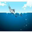 Swordfish swimming in the ocean vector image