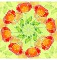 decorative ornate poppy flowers circle vector image