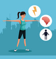 woman sports exercise healthy urban background vector image