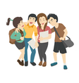 Group of smiling teenage students  eps10 f vector image