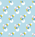 snowman and snowflake pattern vector image