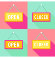 Yellow Pink Cyan Open and Closed Signs Set vector image