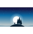 Reindeer with spruce of silhouettes vector image