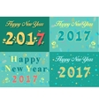 Happy new year 2017 Vintage floral font vector image