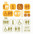 yellow brown and olive green public access icons vector image