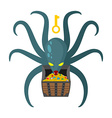 Octopus guarding pirate treasures Gold chest vector image