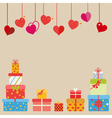 Hanging red hearts and gift boxes vector image