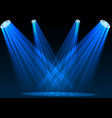 blue spotlights with white podium on dark backgrou vector image