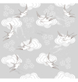 Cute seamless swallow and cloud pattern vector image