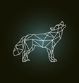geometric silhouette of the howling wolf side vector image