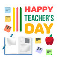 happy teachers day celebration banner vector image