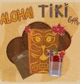Vintage postcard featuring Hawaiian masks guitars vector image