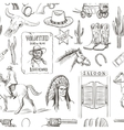 Wild West hand drawn seamless pattern vector image