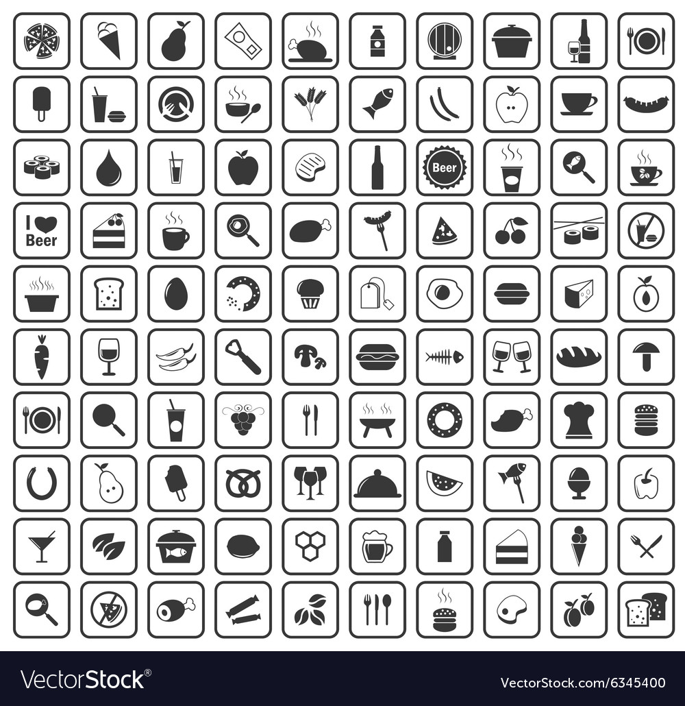 100 food and drinks icons vector