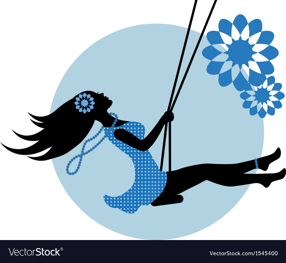 Silhouette of a woman on a swing vector