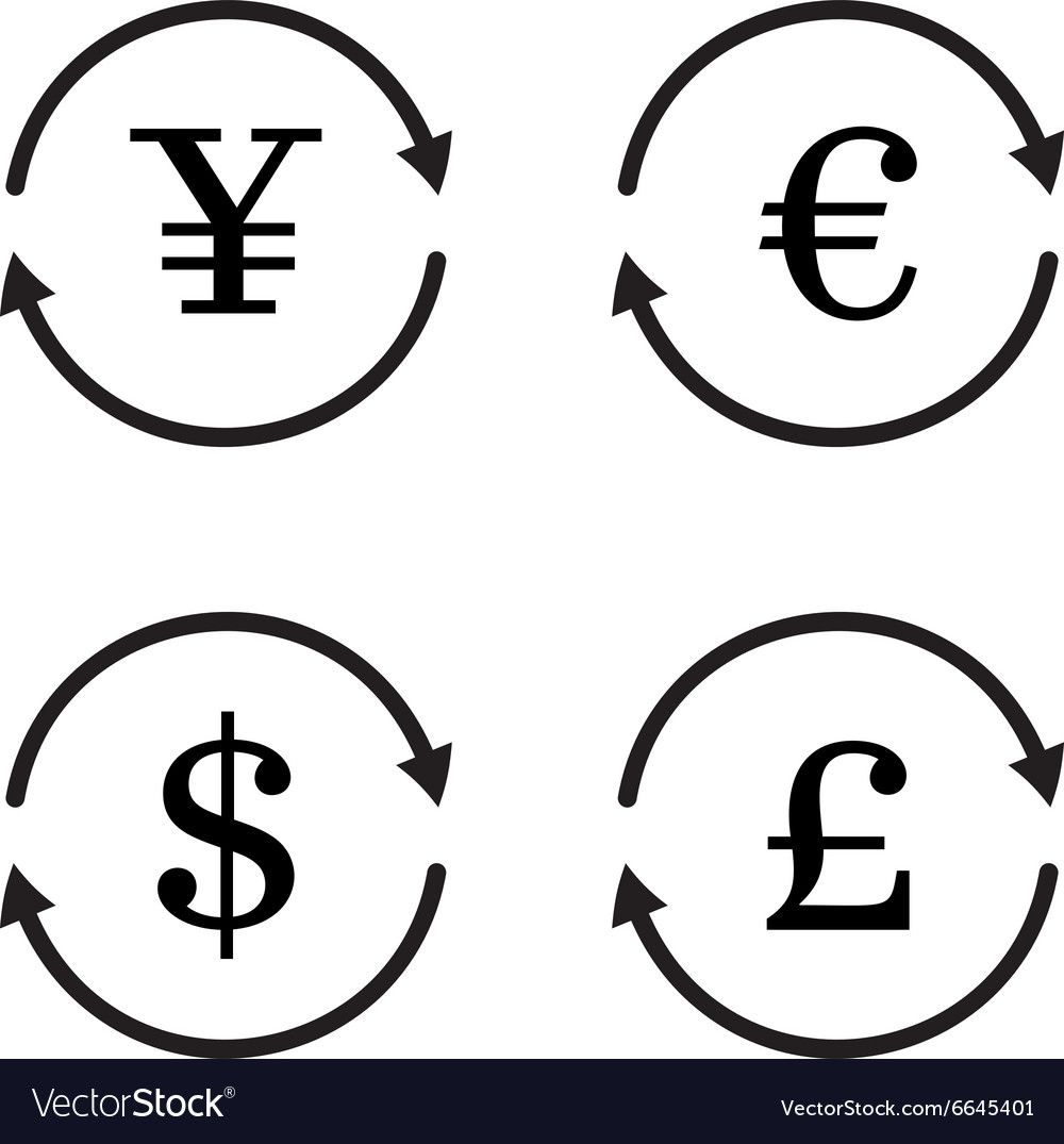 Finance currency exchange icon set yuan dollar vector