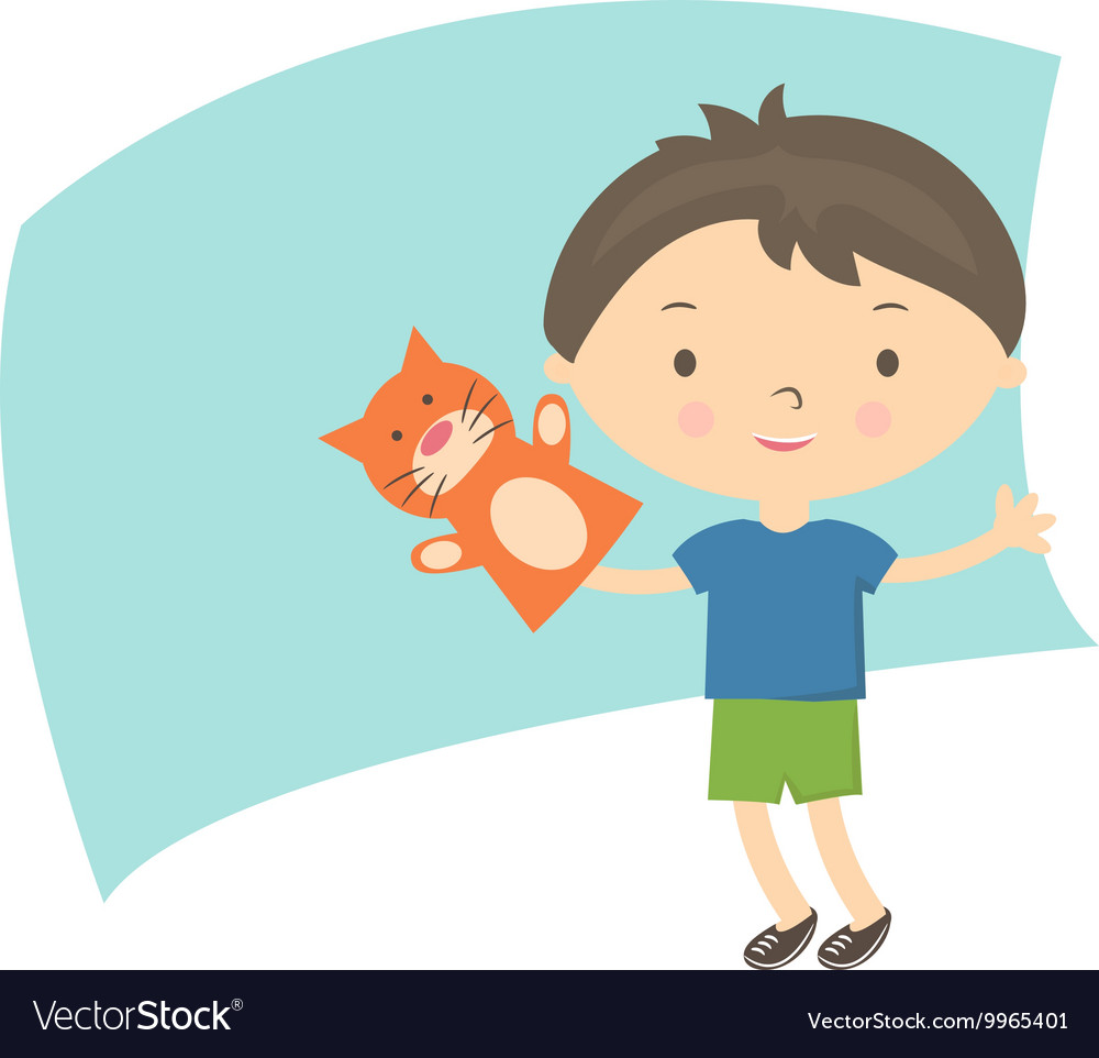 Small boy with hand puppet toy vector