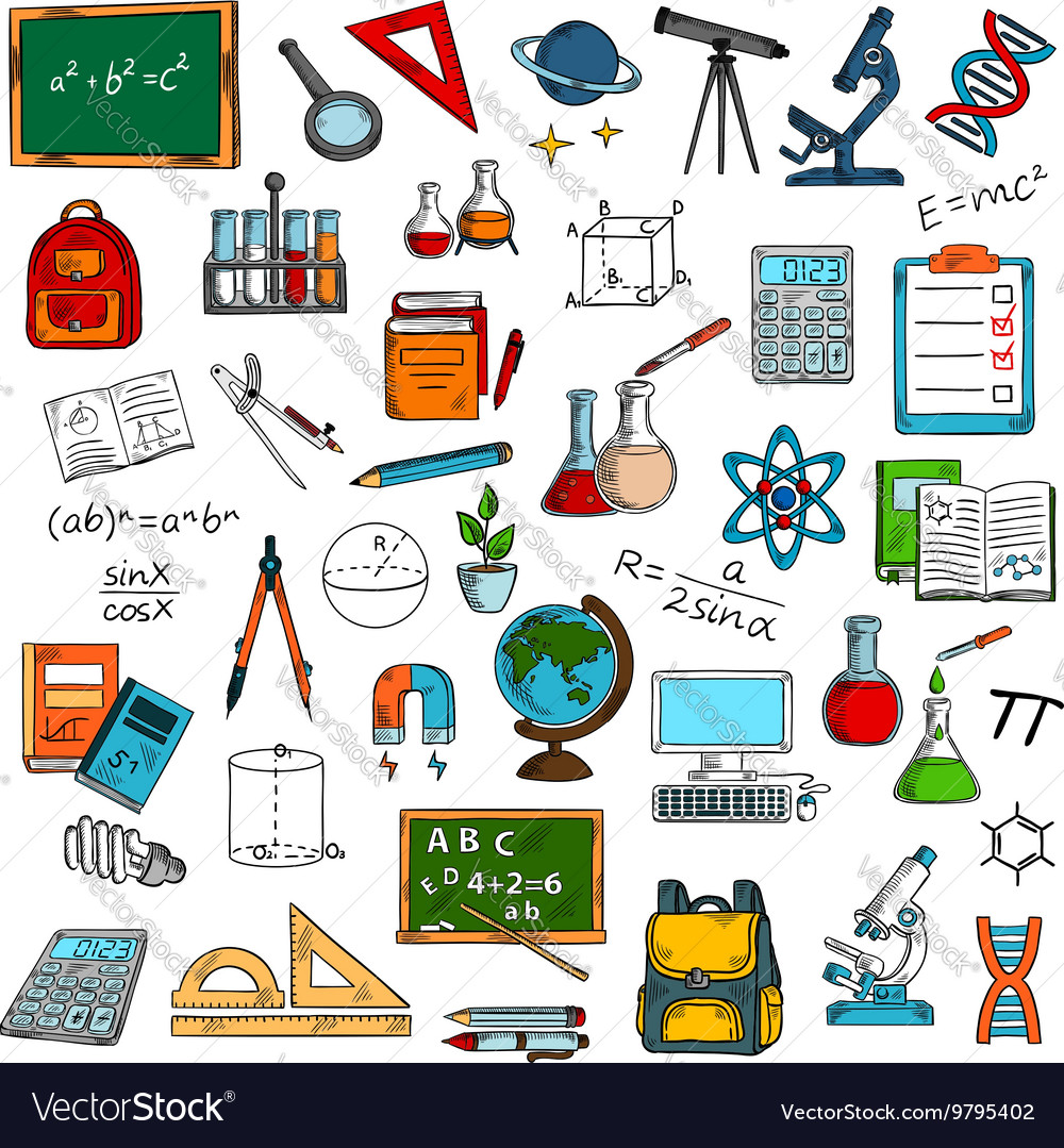 Sketches of school or university equipment vector