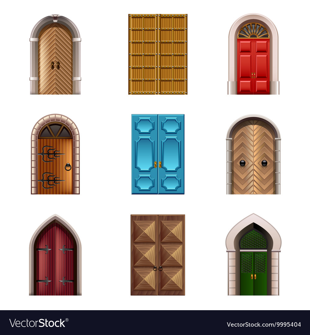 Old doors icons set vector
