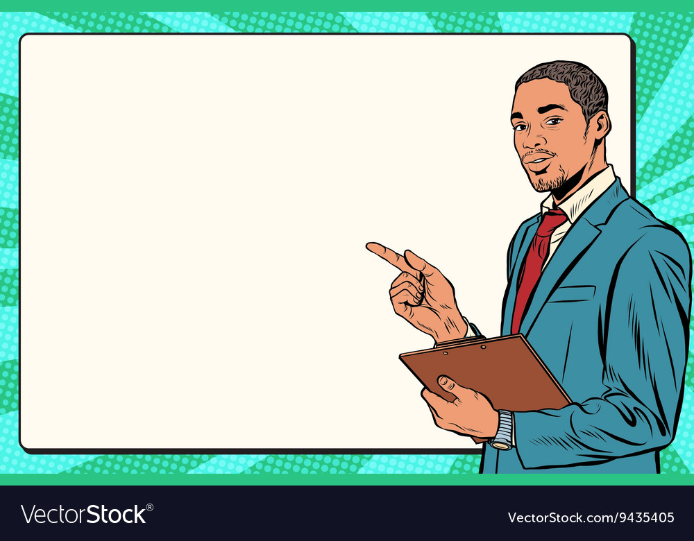 Beautiful black businessman presentation vector