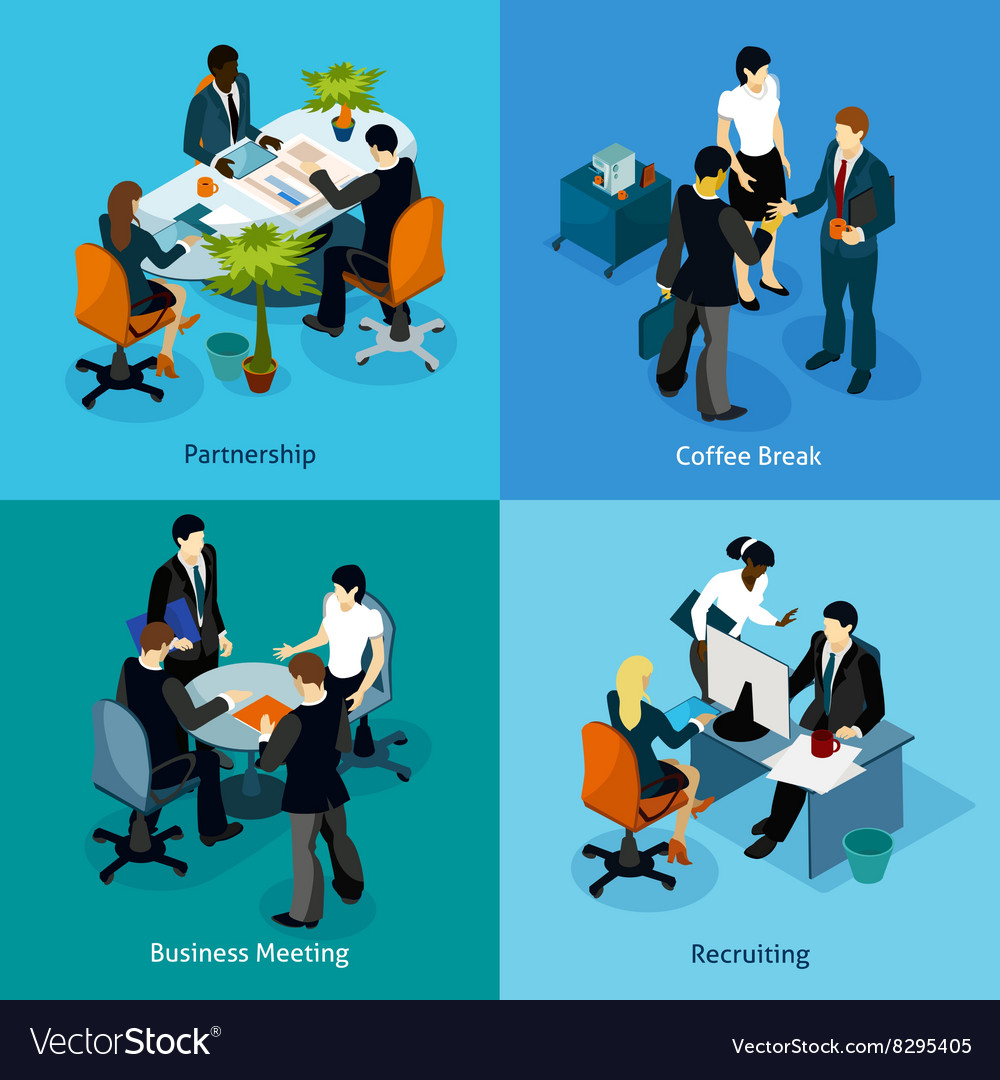 Business people isometric icon set vector