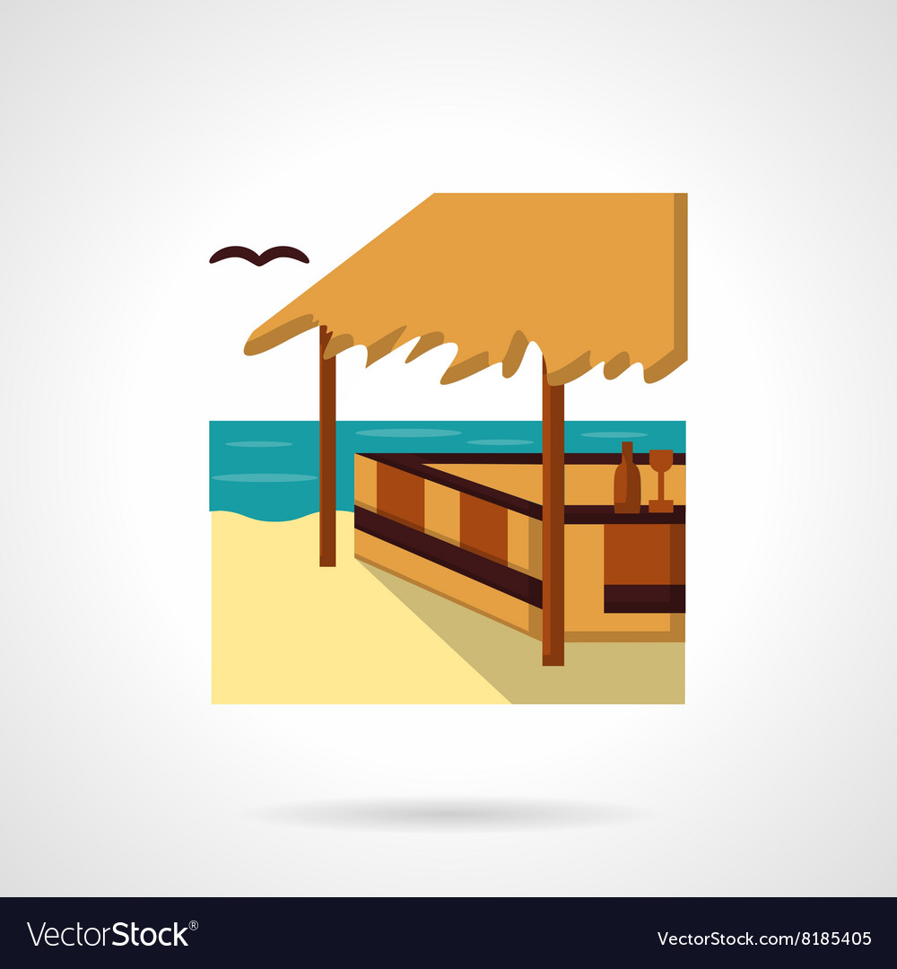 Sea terrace flat color design icon vector