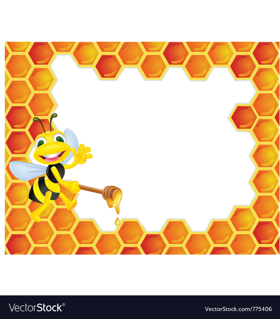 Bee cartoon with honeycomb vector