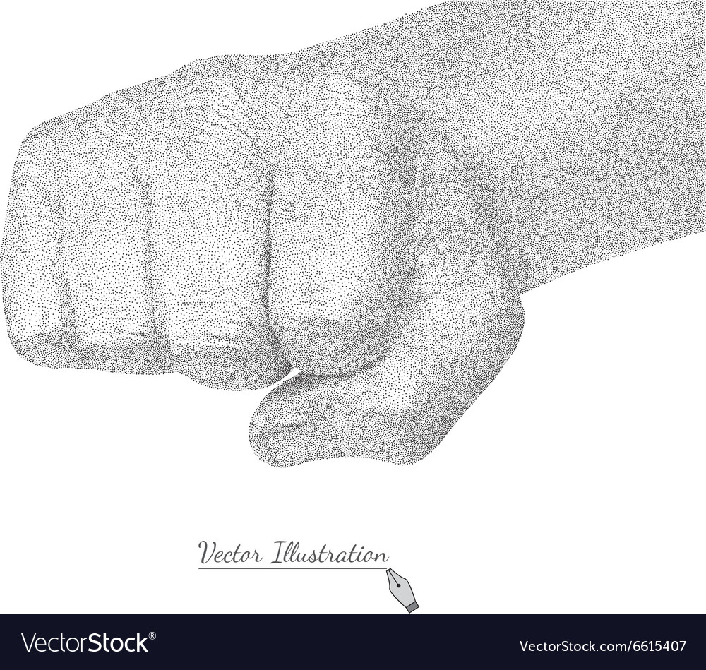 Male fist in style black engraving vector