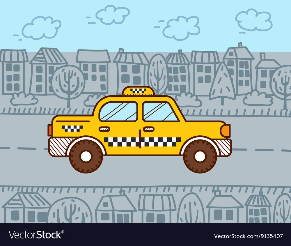 Taxi cab in the city vector