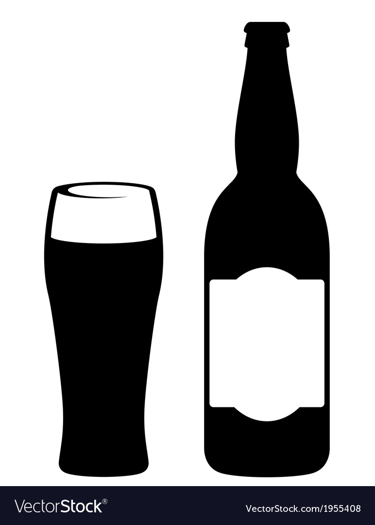 Black beer bottle with glass vector