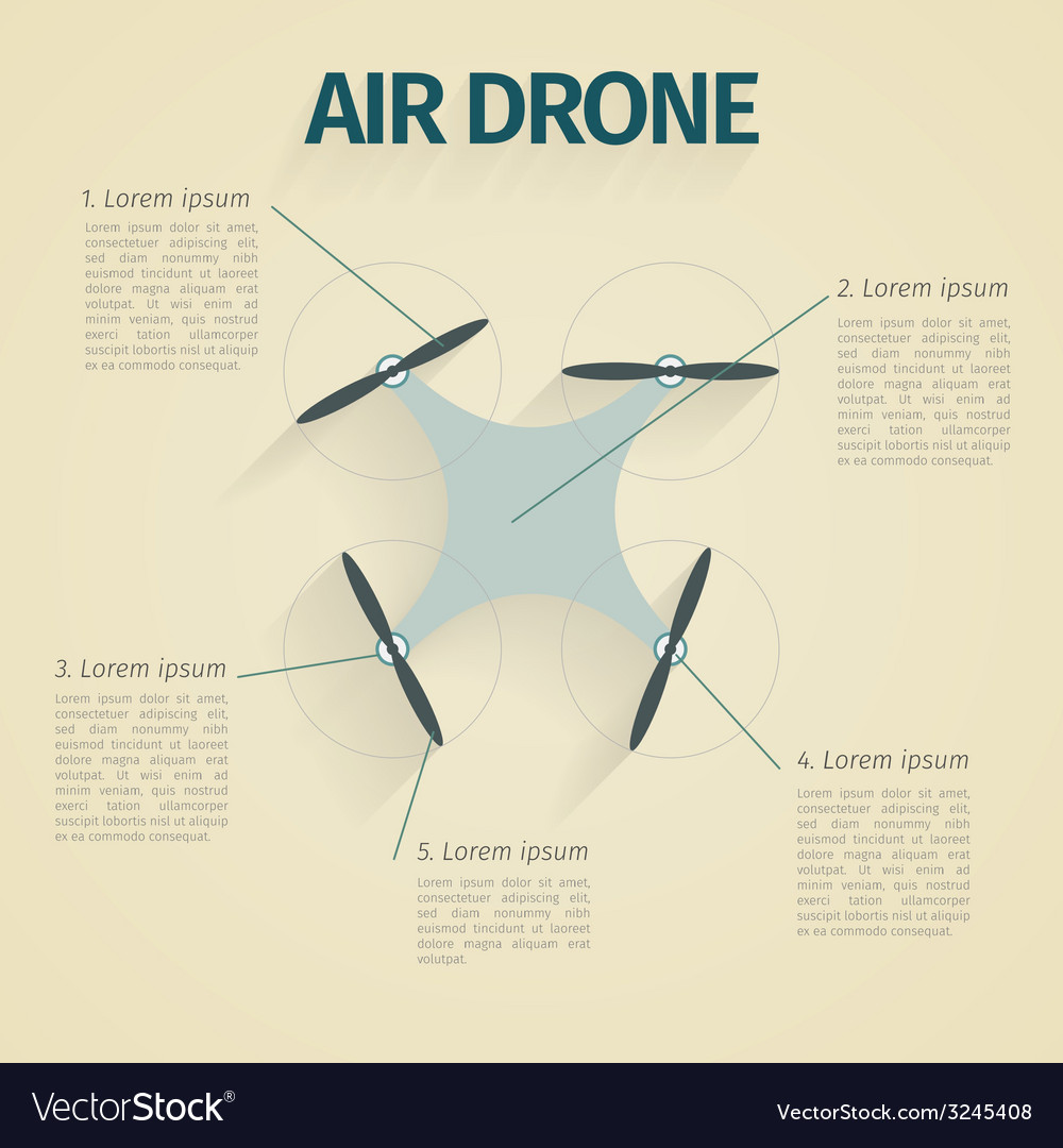 Flat of infographic with quadrocopter vector