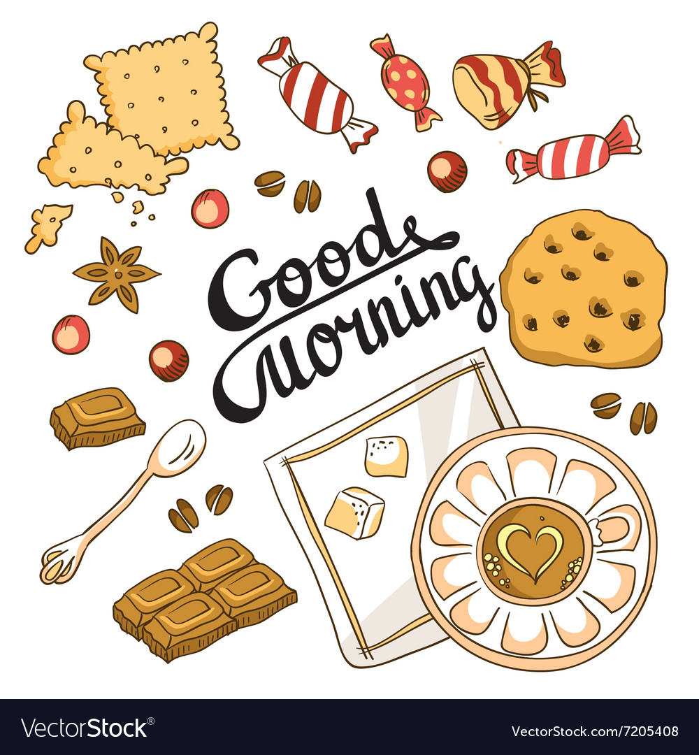 Good morning card breakfast menu design set with vector