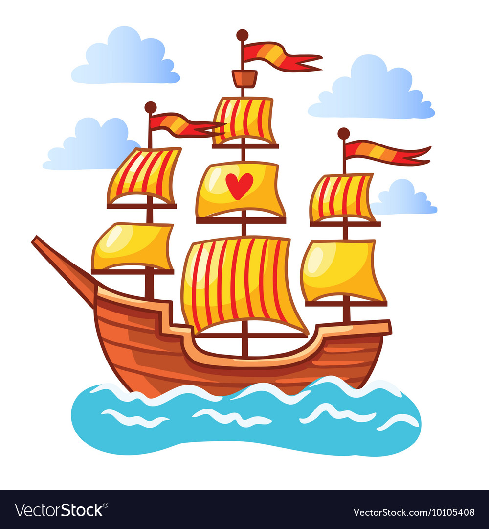 Sailing ship floating in the water vector