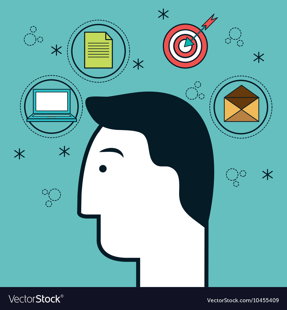 Head human profile think icon vector