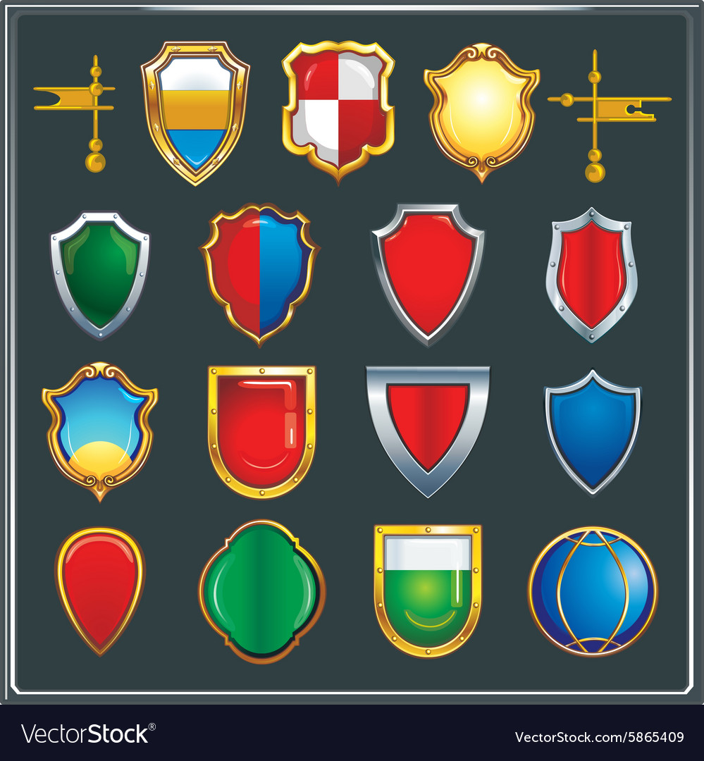 Set of different color and shape of heraldic shiel vector